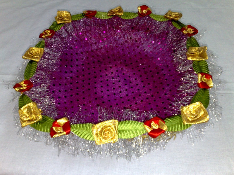 Decorated chaab decorated tray for Aana decoration decorative tray