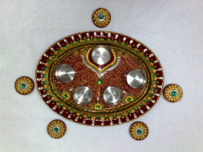 Decorated aarti thali indian wedding for Aarti thali decoration pictures